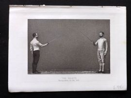 Badminton Library 1893 Sword Fencing Print. The Salute. Recognition to the left